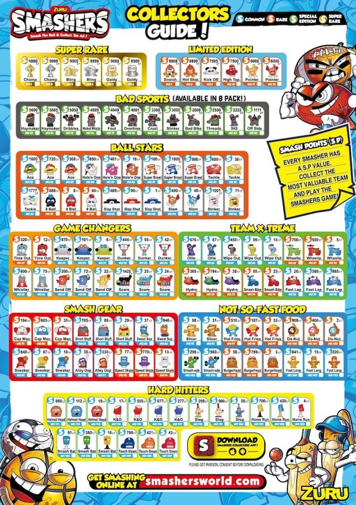smashers characters Smashers Sport Series 1 lista completa